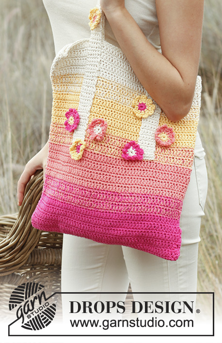 Tropical Fun / DROPS 147-44 - Crochet DROPS bag in 2 threads Safran.