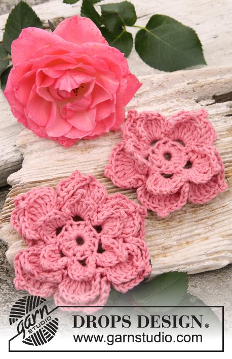 Crochet Patterns Free Drops : Rosa / DROPS 147-45 - Crochet DROPS rose flowers in ...