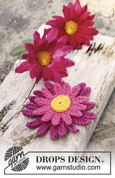 Crochet Flower Pattern Dahlia : Dahlia / DROPS 147-47 - Crochet DROPS dahlia flower in ...