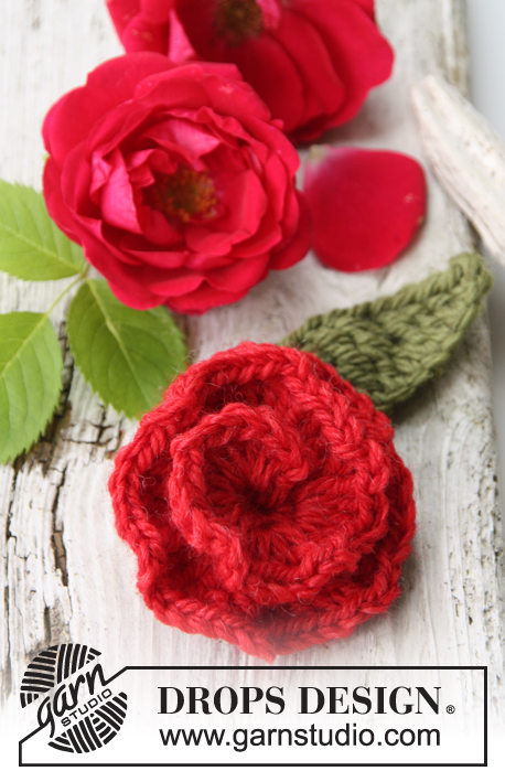 Sweet As Rose / DROPS 147-55 - Crochet DROPS rose flower in Nepal.