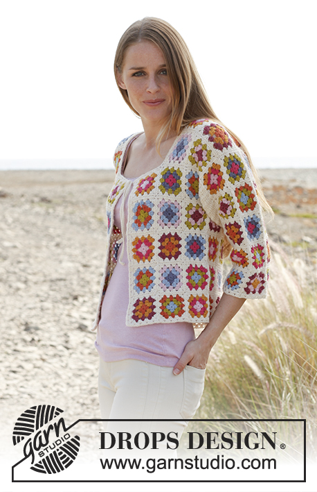"Summer patchwork / DROPS 147-9 - Crochet DROPS jacket with ¾ sleeves and granny squares in ""Alpaca"". Size: S - XXXL"