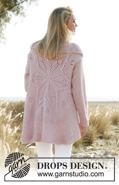Daybreak / DROPS 148-1 - Knitted DROPS jacket worked in a circle with lace pattern in Alpaca and Kid-Silk. Size: S - XXXL.