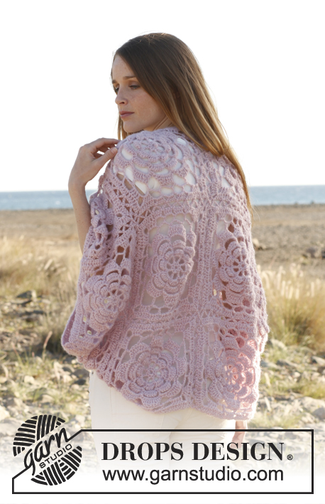 "Pink Dream / DROPS 148-13 - Crochet DROPS bolero in ""Alpaca"" and ""Kid-Silk""."