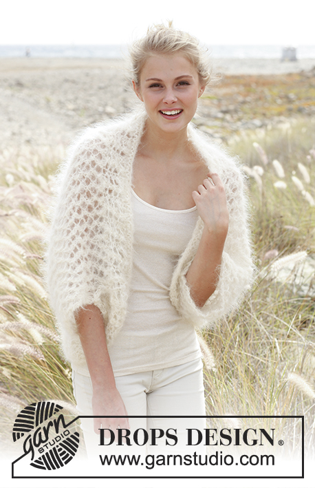 Cloud / DROPS 148-24 - Knitted DROPS bolero in Vienna or Melody. Size: S - XXXL.