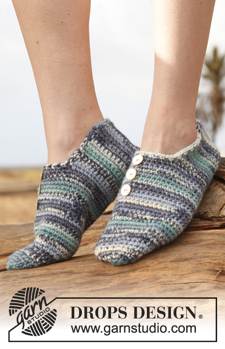 Cyclades / DROPS 148-27 - Crochet DROPS slippers in 1 thread Big Fabel og 2 threads Fabel.