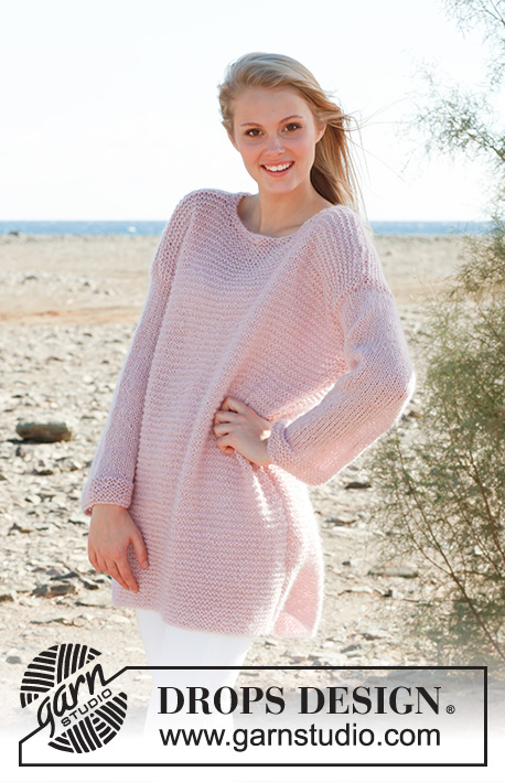 Milkshake Sweater / DROPS 148-36 - Knitted DROPS jumper in garter st in Alpaca, Kid-Silk and Glitter. Size: S - XXXL.