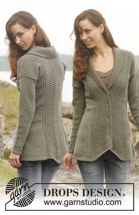 Tanja / DROPS 149-1 - Knitted DROPS fitted jacket with textured pattern and shawl collar in Lima. Size: S - XXXL.