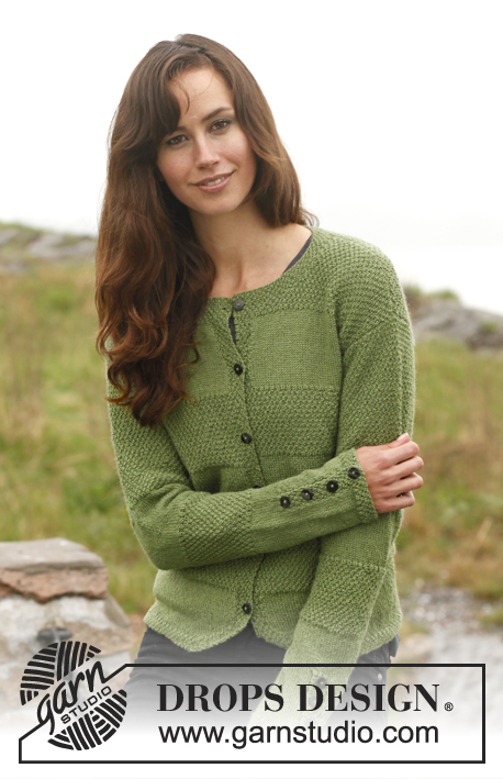 Lady of the Forest / DROPS 149-14 - Knitted DROPS jacket with stripes in stockinette st and double seed st in BabyAlpaca Silk. Size: S - XXXL.