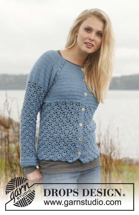"Forget-Me-Not / DROPS 149-19 - Crochet DROPS jacket with raglan and lace pattern worked top down in ""BabyAlpaca Silk"". Size: S - XXXL."