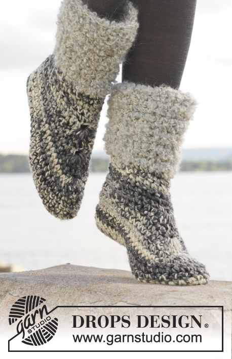 "Cozies / DROPS 149-24 - Pantofole DROPS all'uncinetto, in ""Big Fabel"". Taglie: Dalla 35 alla 43."