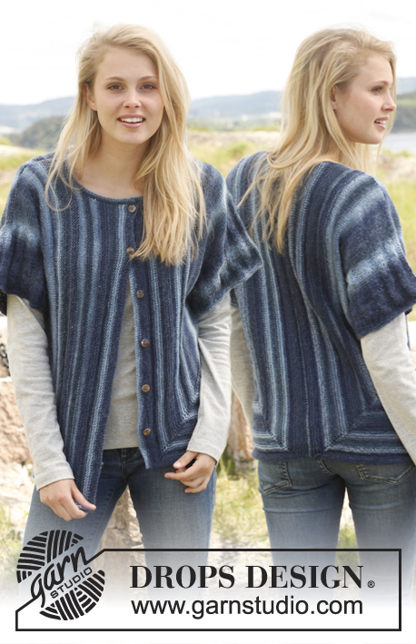 "Svenja / DROPS 149-34 - Knitted DROPS jacket with short sleeves worked sideways in ""Delight"". Size: S - XXXL."
