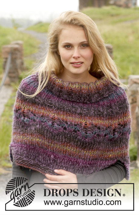 Sunset Meadow / DROPS 149-38 - Knitted DROPS poncho with lace pattern in Big Delight and Vivaldi. Size: S - XXXL.