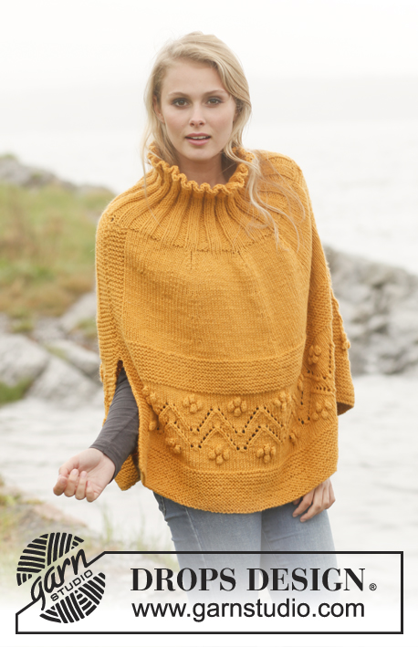 "Saffron / DROPS 149-45 - Knitted DROPS poncho with lace pattern and bobbles in ""Nepal"". Size: S - XXXL."