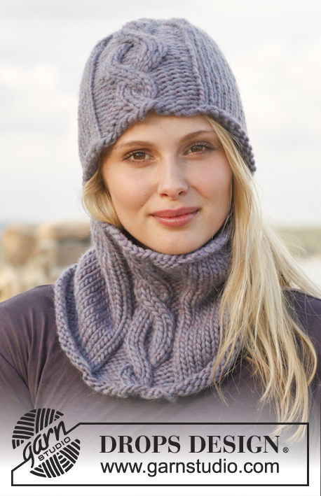 Monica / DROPS 149-9 - Knitted DROPS hat and neck warmer with cable in Eskimo.