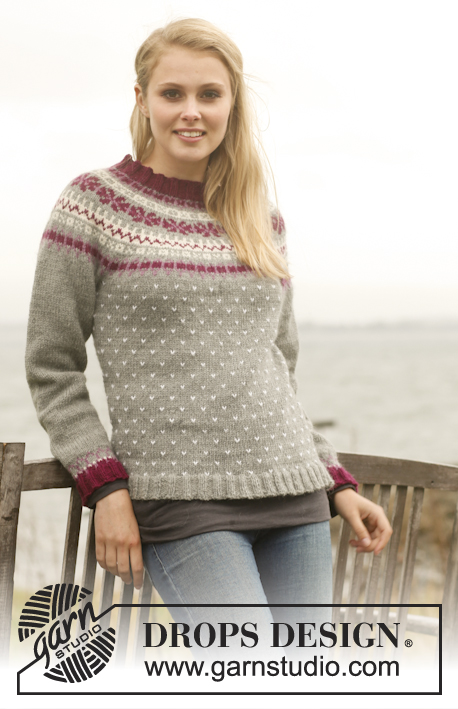 September Sweater / DROPS 150-15 - Knitted DROPS jumper with round yoke and Nordic pattern in Lima. Size: S - XXXL.