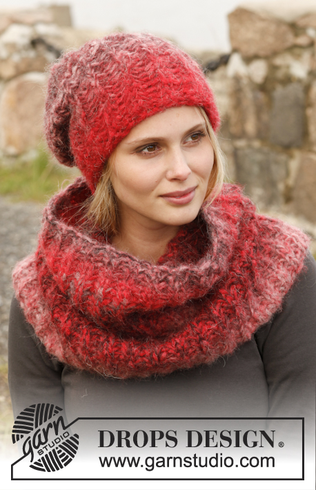 "Sweet Maroon / DROPS 150-26 - Knitted DROPS hat and neck warmer with English rib with 2 strands in ""Verdi""."