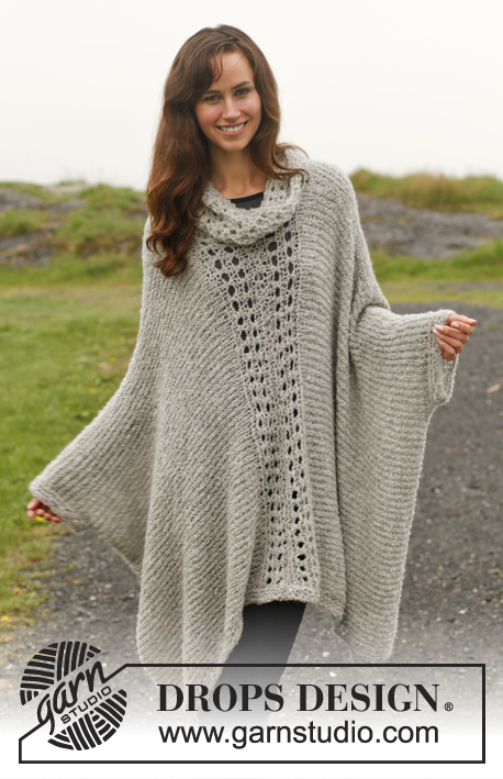 "Amari / DROPS 150-36 - Knitted DROPS poncho with lace pattern in ""Alpaca Bouclé"". Size: S - XXXL."