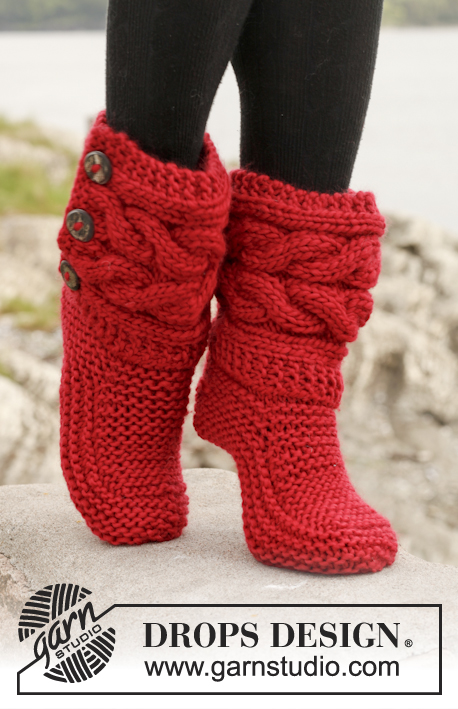 Free Drops Knitting Patterns : Little Red Riding Slippers / DROPS 150-4 - Knitted DROPS slippers with cables...