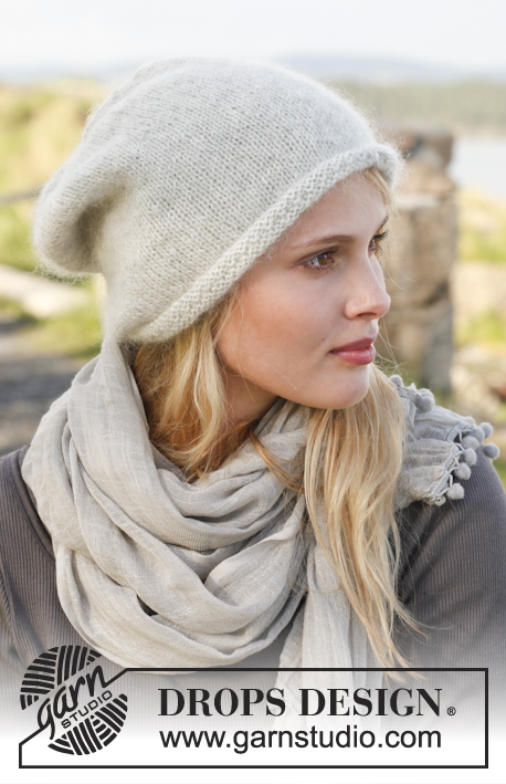"Gotland / DROPS 150-43 - Knitted DROPS roll edge hat in ""Alpaca"" and ""Kid-Silk""."