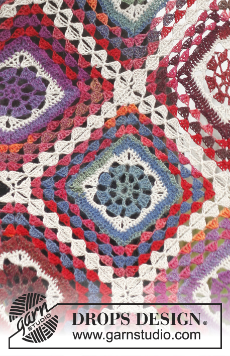 "Summer Nights / DROPS 150-49 - Crochet DROPS blanket in ""Delight"" and ""Fabel""."