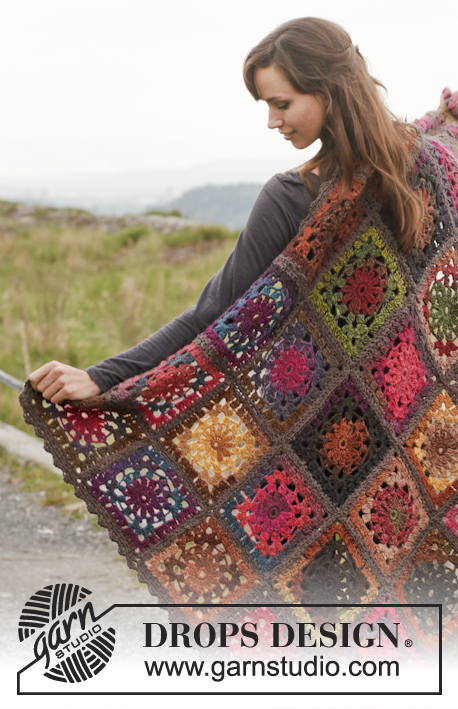 "Log Cabin / DROPS 150-54 - Couverture DROPS au crochet, en ""Big Delight"" avec bordures en ""Big Merino""."