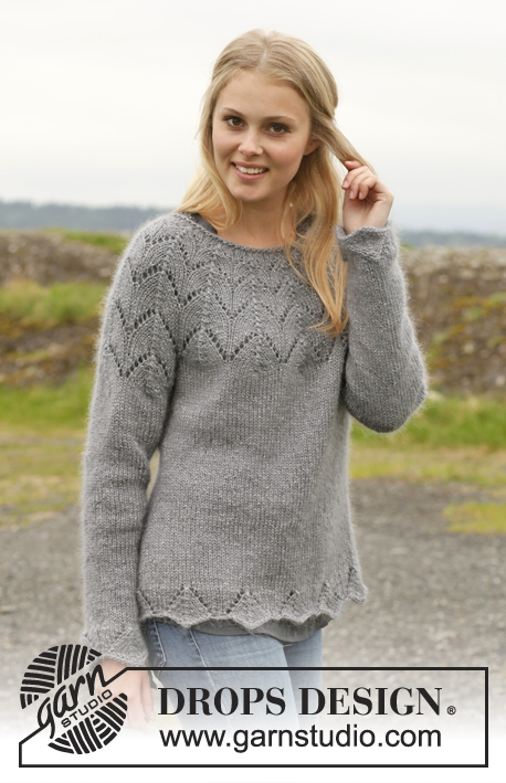 Fox Sweater / DROPS 150-7 - Knitted DROPS jumper with round yoke and lace pattern in BabyAlpaca Silk, Kid-Silk and Glitter. Size: S - XXXL.