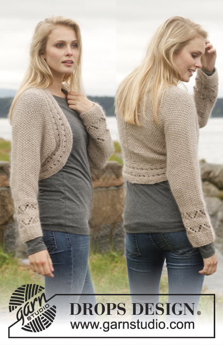 Ellis / DROPS 151-25 - Knitted DROPS bolero with lace pattern and seed st in Alpaca and Kid-Silk. Size: S - XXXL.