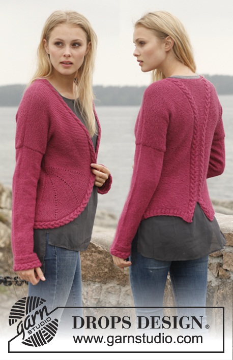 Ruby Turns / DROPS 151-3 - Knitted DROPS jacket in garter st with rounded front edges and cables in Alpaca. Size: S - XXXL.