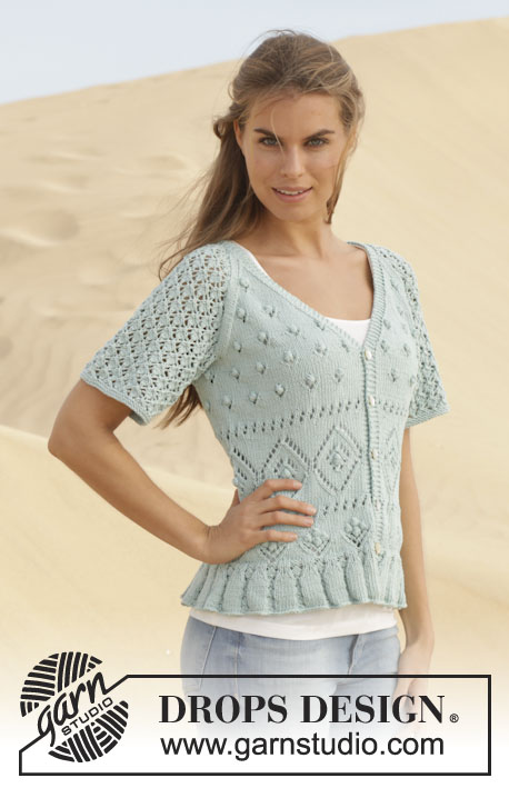 "Ocean Breeze / DROPS 152-1 - Knitted DROPS jacket with lace pattern and raglan in ""Cotton Light"". Size: S - XXXL."