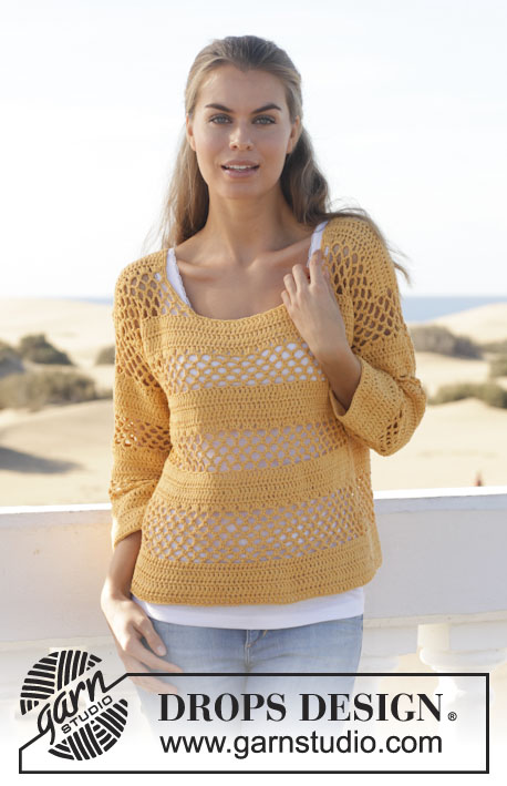 "Amber / DROPS 152-17 - Crochet DROPS jumper with lace pattern and double crochet in ""Cotton Light"". Size: S - XXXL."