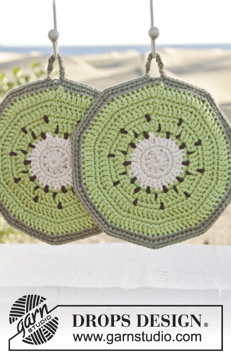 "Taste of Summer / DROPS 152-39 - Maniques DROPS kiwi, au crochet, en ""Paris""."