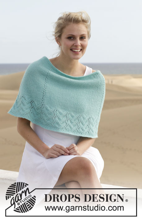 "Sweet Love of Mine / DROPS 152-5 - Poncho ajouré DROPS en ""Alpaca"". Du S au XXXL."