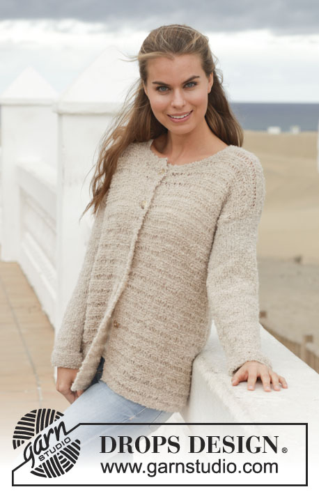 "Sandy Cardigan / DROPS 153-17 - Knitted DROPS jacket in garter st with dropped sts in ""Alpaca Bouclé"". Size: S - XXXL."