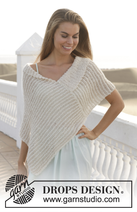 "Summer Night / DROPS 153-19 - Knitted DROPS poncho in garter st with stripes in ""Alpaca Bouclé"" and ""Cotton Viscose"". Size S-XXXL."