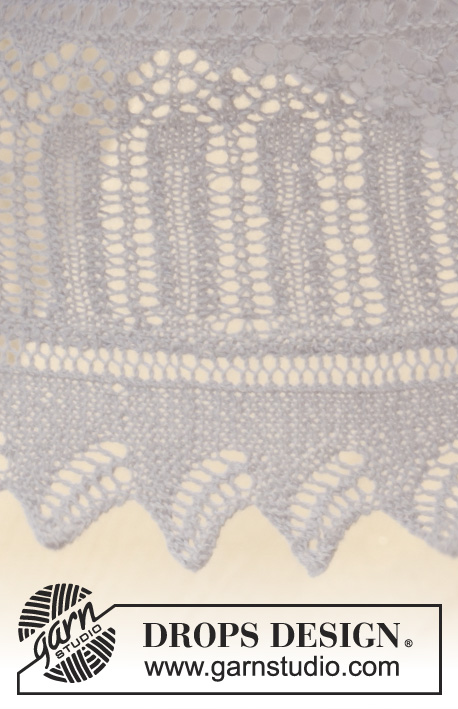 "Butterfly Dance / DROPS 153-2 - Knitted DROPS shawl in garter st with lace pattern in ""Alpaca""."