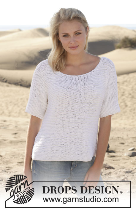 "Summer Lights / DROPS 153-6 - Knitted DROPS jumper in garter st in ""Paris"". 