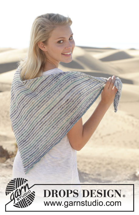 "Bayside / DROPS 153-9 - Knitted DROPS shawl with stripes in ""Fabel""."