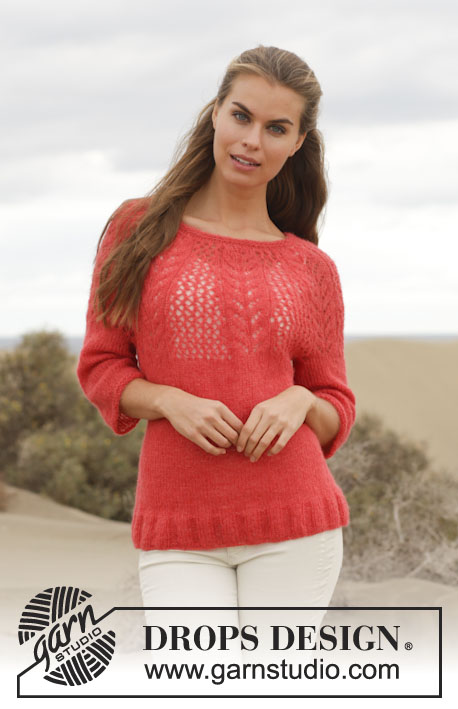 "Cheryl / DROPS 154-13 - Knitted DROPS jumper with round yoke and lace pattern in ""Brushed Alpaca Silk"". Size: S - XXXL."