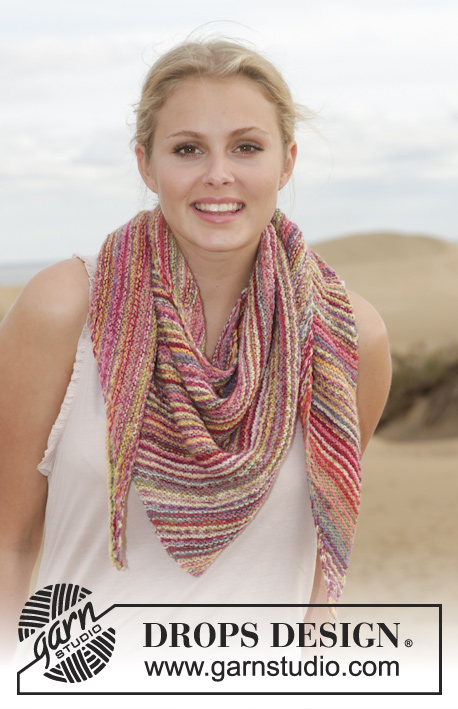 "Arabian Nights / DROPS 154-18 - Knitted DROPS shawl in garter st with stripes in ""Fabel""."