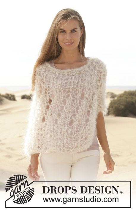 "Whisper / DROPS 154-24 - Knitted DROPS poncho in garter st with lace pattern in ""Vienna"" or Melody. Size: S - XXXL."