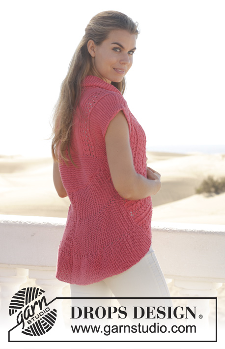 Evangeline / DROPS 154-35 - Knitted DROPS vest in garter st worked in a circle with lace pattern in Paris. 