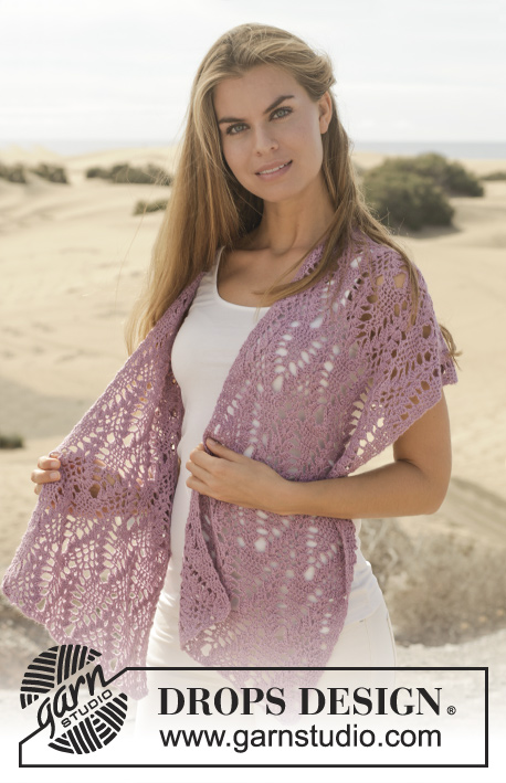 "Hold Me / DROPS 154-38 - Crochet DROPS shawl with dc and lace pattern in ""BabyAlpaca Silk""."