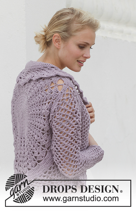 Lila Sun / DROPS 155-10 - Crochet DROPS jacket worked in a circle in Big Merino. Size: S - XXXL.