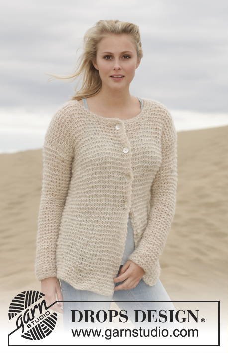 Stormy Weather Cardigan / DROPS 155-17 - Knitted DROPS jacket in garter st in 2 strands Brushed Alpaca Silk. Size: S - XXXL.