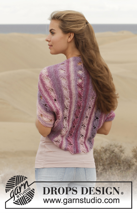 "Thinking Of You / DROPS 155-33 - Knitted DROPS bolero in garter st with Indian cross stitch in ""Big Delight"". Size: S - XXXL."