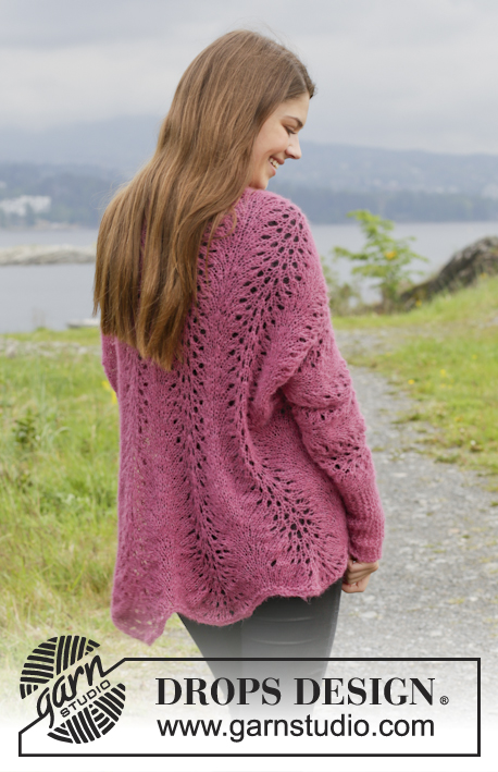 "Let's Dance / DROPS 156-10 - Knitted DROPS jacket with wave pattern in ""Brushed Alpaca Silk"". Size: XS - XXL."