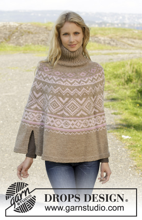 "Nordic Autumn / DROPS 156-11 - Knitted DROPS poncho with Norwegian pattern, worked top down in ""Nepal"". Size: S - XXXL."