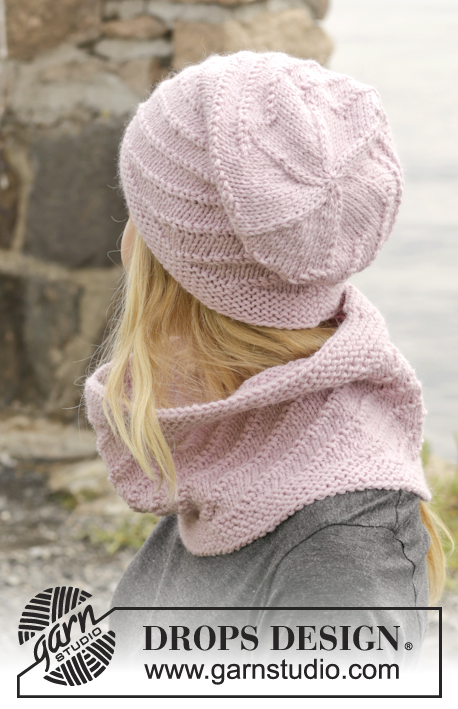 "Belinda's Dream / DROPS 156-24 - Knitted DROPS hat and neck warmer in garter st with spiral pattern in ""Nepal""."