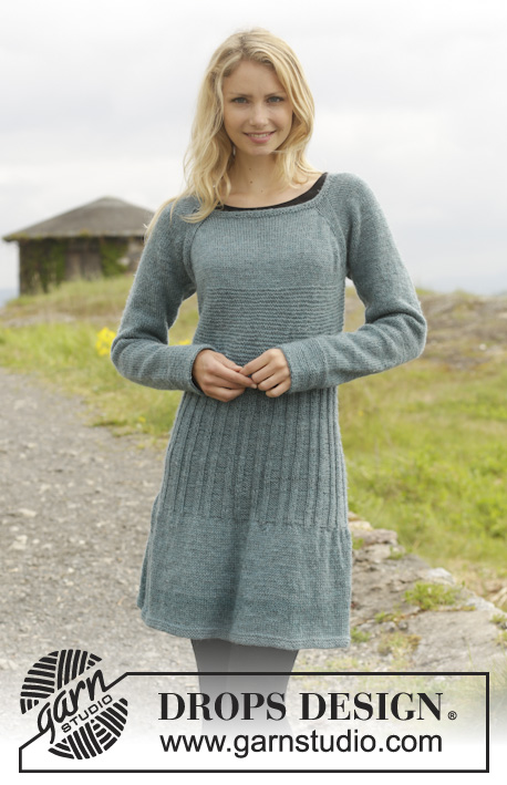 "Angel Falls / DROPS 156-3 - Knitted DROPS dress in garter st with rib and raglan, worked top down in ""Karisma"". Size: S - XXXL."