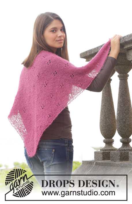 "Azalea / DROPS 156-39 - Knitted DROPS shawl in garter st with lace pattern in ""Brushed Alpaca Silk""."